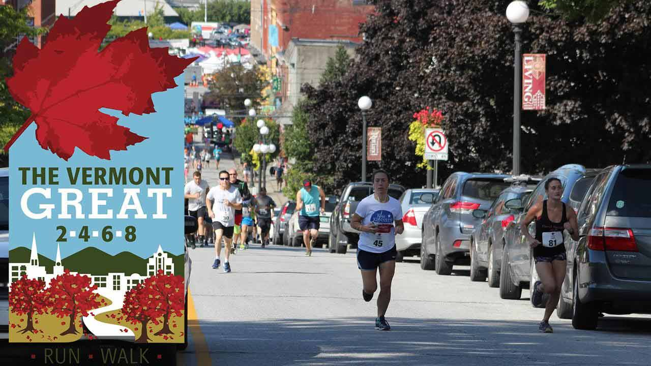 people running foot race in Vermont 2-4-6-8K